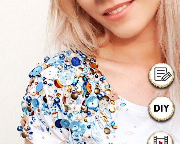 Dekoidee für Kleidung: Basic-Klamotten aufpimpen. Verzierungen und Malereien an Textilien einfach selber machen und ein eigenes Designerstück herstellen. Ich zeige dir wie du mit Stoffmalfarbe und Verzierungen auf deine Pullover und Shirts selber dekorieren kannst. Auch eine schöne Gechenkidee um aus einem Basicteil etwas Besonderes für jemanden zu machen. #stoffmalfarbe #malen #selbernähen