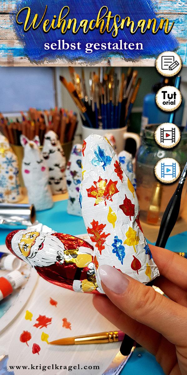 Gestalte deinen Schoko Weihnachtsmann selbst! In meinem DIY mit Malerei zeige ich dir, wie du mit meiner Malanleitung aus einem Schokoladenweihnachtsmann die schönste süße Geschenkidee zum Advent selber machen kannst. Mit dieser Dekoidee kannst du deinen Weihnachtsmann selbst gestalten. Male deinen Süßigkeiten zu Weihnachten eine neue Verpackung. #schoko #malidee #advent #weihnachtsdeko #adventdeko