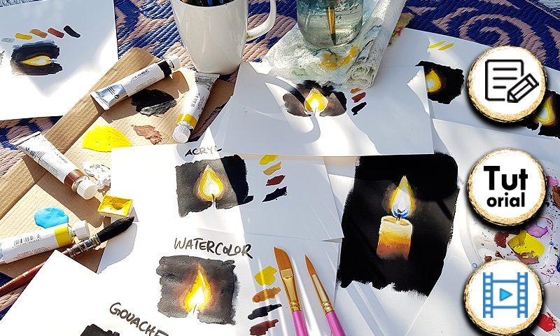 Hier lernst du wie du eine Kerze mit Flamme malen kannst. In der Videoanleitung erkläre ich dir für Aquarell, Gouache und Acryl wie man das Licht einer Kerze richtig malt. #malen #kerze #aquarell #gouache #acryl