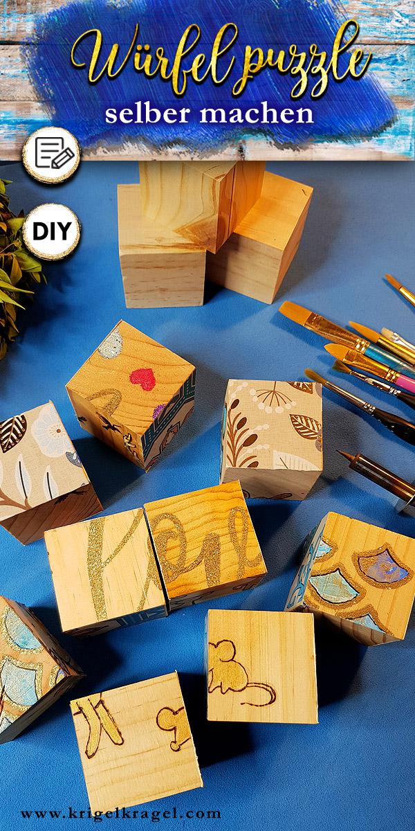 DIY Geschenkidee für Kinder die du selber machen kannst. Bastel und male aus Holzwürfeln ein sechsseitiges Puzzle. Selbstgemachte Geschenke für Weihnachten und den Geburtstag sind einfach am schönsten. #geschenkidee #weihnachten #geschenkbasteln #geschenkmalen #löten #gravieren