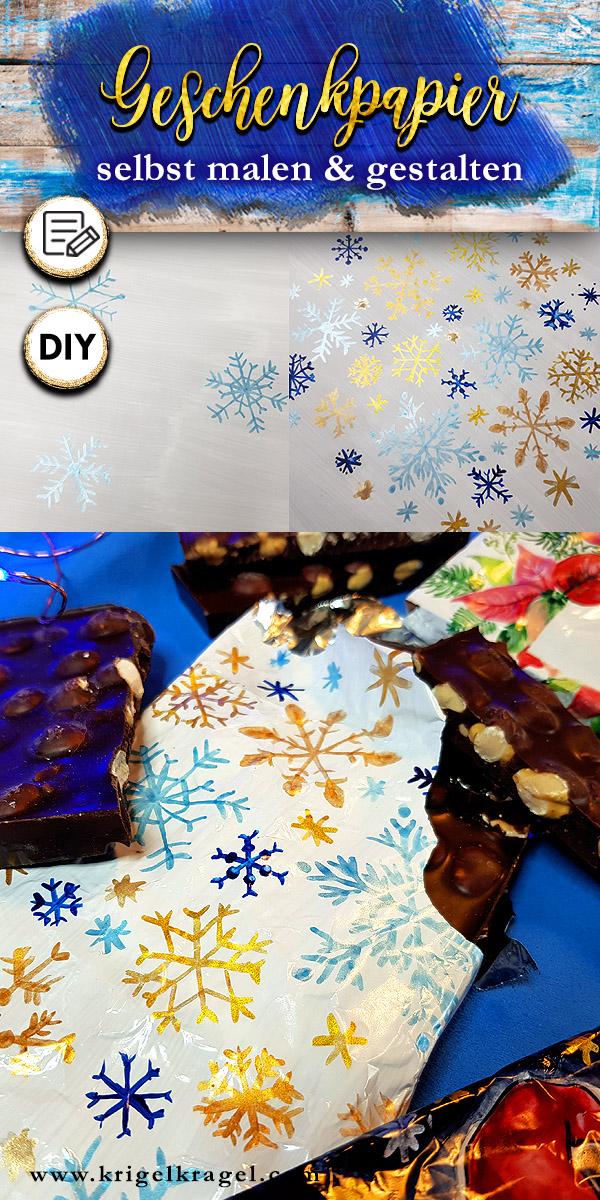 Deko DIY mit malen: Geschenkpapier für Schokolade selbermachen. Ich zeige dir eine wunderschöne Idee um Schokolade individuell zu verpacken. Eine schöne Dekoidee für dein Weihnachtsgeschenk zum Selbermachen. Auch als selbstgemachtes Geschenk für Geburtstage schön abzuwandeln. Mit weihnachtlichen Motiven für den Advent und den Winter. #geschenkpapier #schokolade #selbermachen #bastelidee #weihnachten #advent #malen