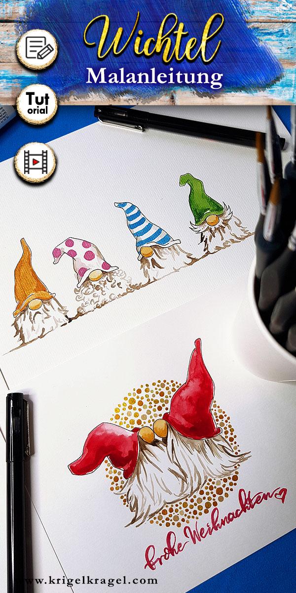 Malen Lernen Wichtel Mit Wasserfarben Und Filzstift Mit Vorlage