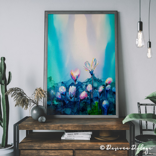 Gemälde mit Alkoholtinte und Acryl von Desiree Delage. Auf ihrem Blog Krigelkragel gibt sie Tipps, Malkurse und bietet ihre Kunstwerke zum Kauf an.
