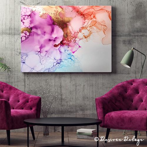Abstrakte Malerei mit Alkoholtinte von Desiree Delage. Auf ihrem Blog Krigelkragel zeigt die Malerin Maltechniken rundum Alkoholtinte, Aquarellund Acryl.