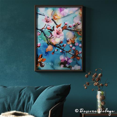 Kischblüten Malerei von desiree Delage. Acryl und Alkoholtinte auf Leinwand. Auf ihrem Blog Krigelkragel zeigt die Malerin Anleitungen zu Alkoholtinte, Aquarell und Acryl.