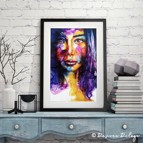 Portrait mit Alkoholtinte und Aquarell von Desiree Delage. Die Malerin zeigt auf ihrem Blog Krigelkragel Maltechniken, gibt online Malkure und verkauft dort ihre Kunst.