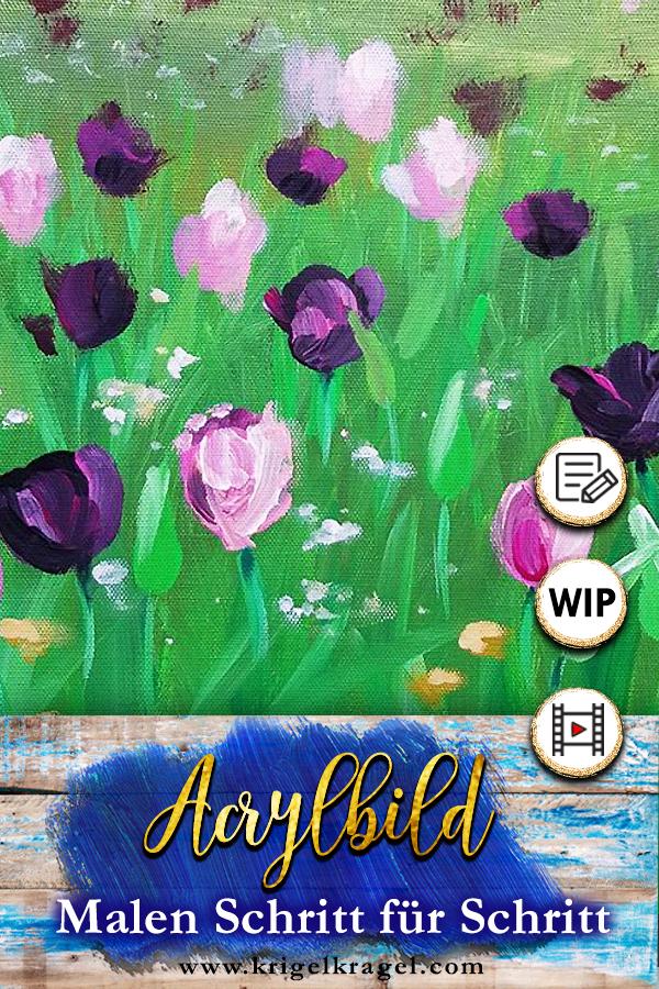Malanleitung Fur Eine Blumenwiese Auf Leinwand Mit Acrylfarbe
