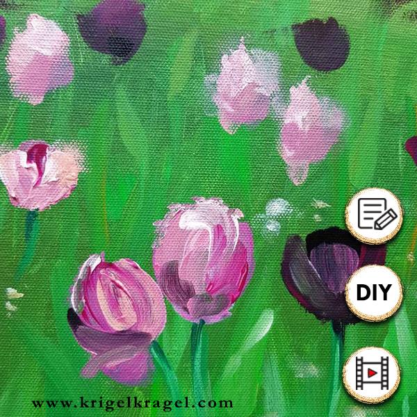 Blumen und Blumenwiese Malen lernen. Mit Acrylfarben auf Leinwand malen mit Malanleitung via Video. Grobe Acrylmalerei Schritt für Schritt.