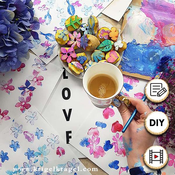 Kartoffeldruckbilder malen mit Anleitung und Dekoidee für ein Blumenbild. DIY mit Malerei auf dem Kreativblog Krigelkragel für deine Wohndeko oder als Geschenkidee.