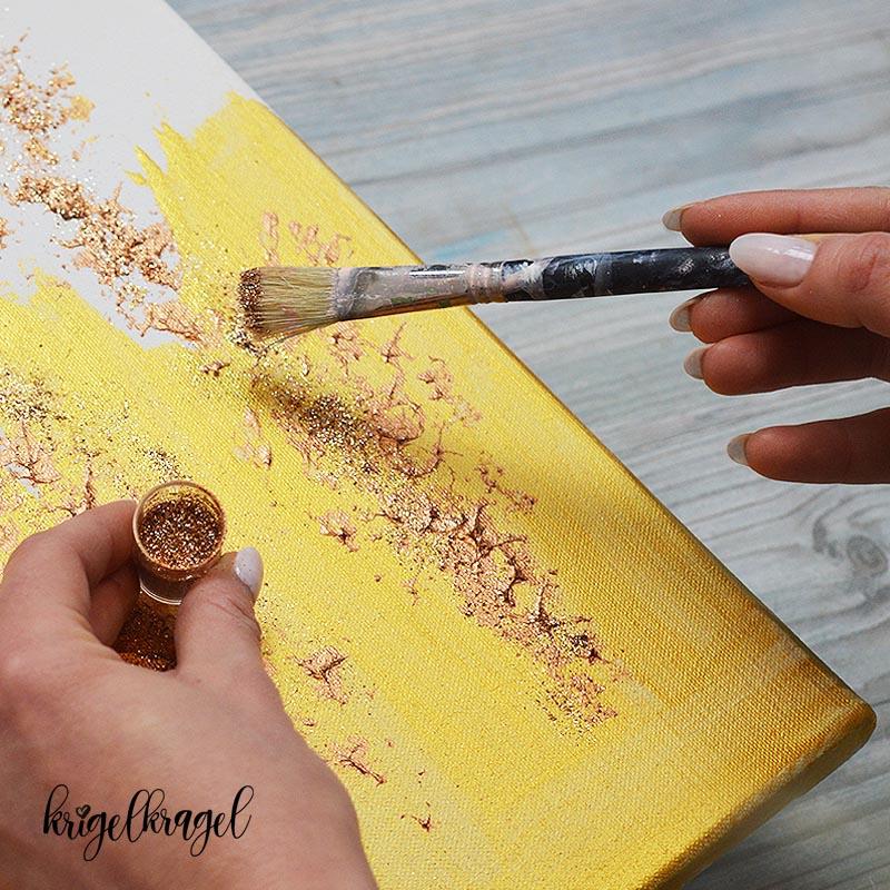 Malen Lernen Leinwand Mit Gold Acryl Und Leds Krigelkragel