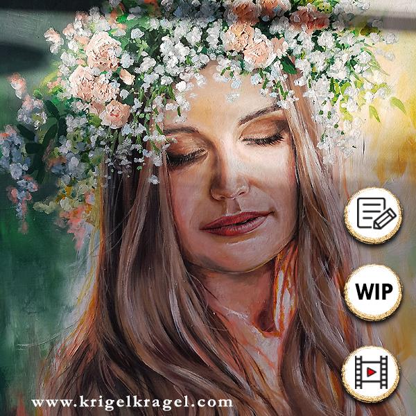 Portrait malen Schritt für Schritt. Hier findest du ein Zeitraffervideo wie Desiree vom Blog Krigelkragel ein Portrait mit Acrylfarben auf Holz malt.
