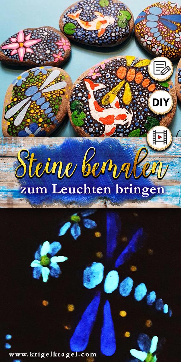 Steine bemalen mit Malanleitung für Acrylfarbe und Leuchtfarben. Deko die im Dunkeln leuchtet selber machen mit den Tutorial auf dem Kreativblog Krigelgragel - malen lernen.