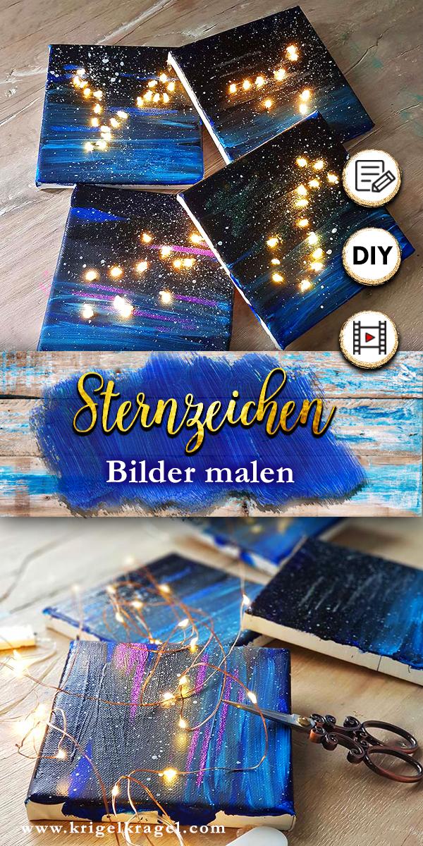 Sternzeichenbilder malen und basteln mit DIY-Anleitung und Video auf dem Kreativblog Krigelkragel. Die Bilder lassen sich mit LEDs beleuchten und sind nicht nur eine tolle Dekoidee für dein Interiordesign, sondern auch ein ganz persönliches Geschenk zum Geburtstag.