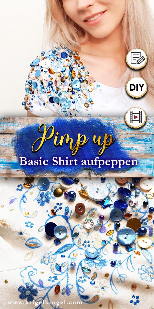 Pimpe in diesem Deko-DIY dein Basic-Shirt mit Farbe, Knöpfen und Perlen zu deinem eigenen Designerstück. Malen lernen mit Stoffmalfarbe und Klamotten aufwerten.