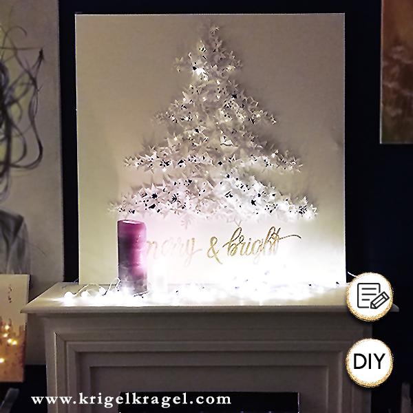 Weihnachtsbaum auf Leinwand in 3D basteln. Dieser Weihnachstbaum wird jedes Jahr deine Wanddeko erneut zu Weihnachten zieren können. Auf dem Blog findest du die Bastelanleitung mit Papiersternen zur beleuchteten Weihnachtsdeko zum selbermachen.