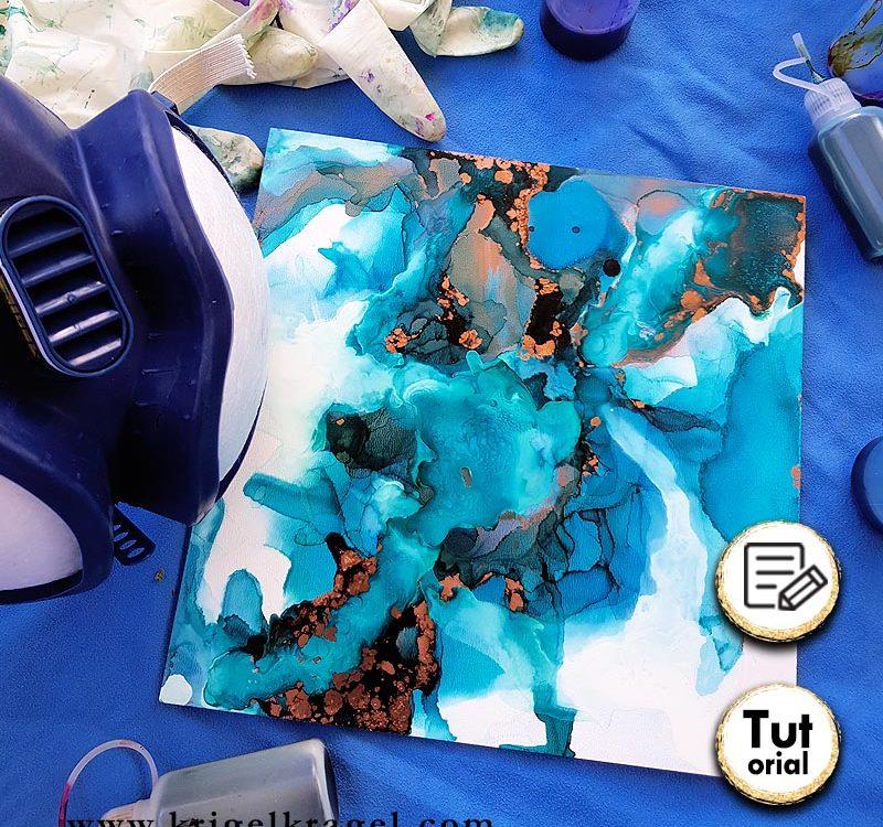 Alkoholtinte ist ein wunderbares Malmedium um abstrakte Bilder zu malen. Auf meinem Blog findest du alles rundum Alkoholtinte und welche Schutzmaßnahmen du treffen solltest. #alkoholtinte #malenlernen #alcoholink