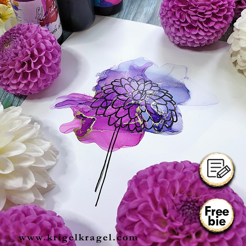 Blumen malen mit Malanleitung für Alkoholtinte und Aquarell. Blumenbilder selbermachen für Geschenke, Deko, Karten und mehr. Malen lernen mit Krigelkragel.