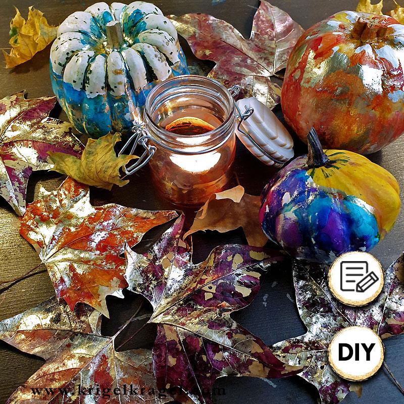 Mit Alkoholtinte kannst du deine Herbstdeko selber machen. Ich zeige dir drei Ideen für deine hebstliche Deko. Alle Dekoideen sind mit Alkoholtinten schnell und einfach nachzumachen. #alkoholtinte #herbstdeko #herbstdiy