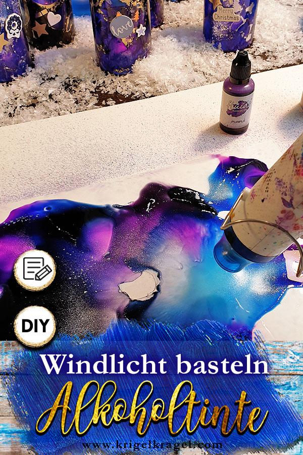 Bastelanleitung für ein Windlicht für deine Deko zu Weihnachten. Mit Alcoholink malen, basteln, selbermachen. #malanleitung #bastelanleitung #weihnachtsdeko #alkoholtinte #alcoholink
