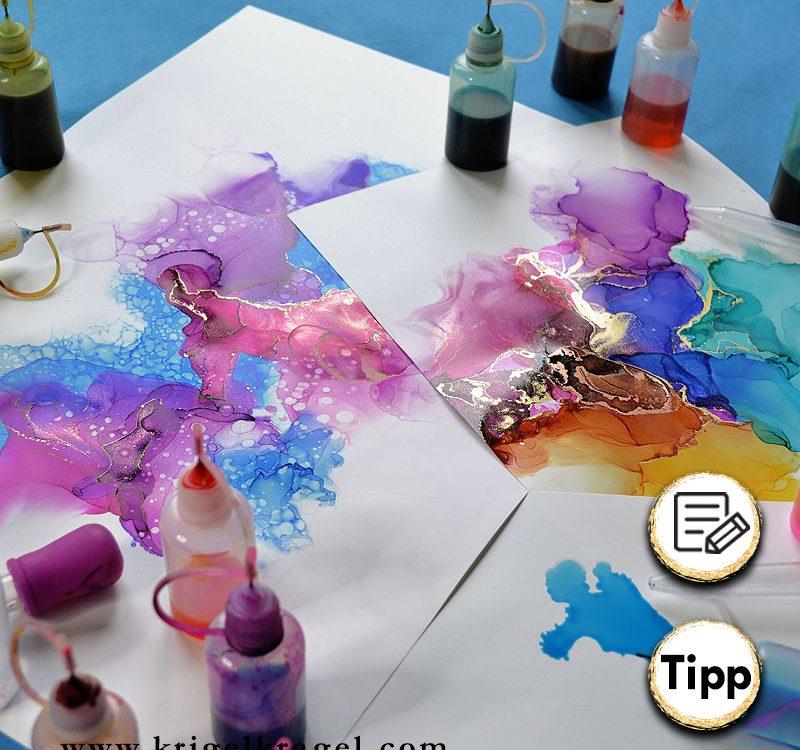 Alles was man zum Malen mit Alchol Ink (Alkoholtinte) braucht. Hier findest du eine Liste für alle Materialen zum Malen mit Alkoholtinte. #alcoholink #alkoholtinte #malen