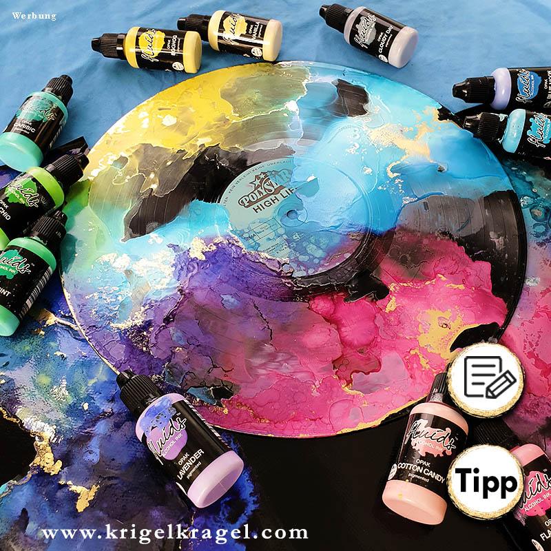 Malen mit Alkoholtinte. Für dunkle und schwarze Malgründe gibt es deckende Alkoholtinte. Wie man mit deckender Alcoholink malt und welche Ideen ich dafür habe erläutere ich dir auf meinem Blog Krigelkragel. #alcoholink #alkoholtinte #malenlernen #farbe