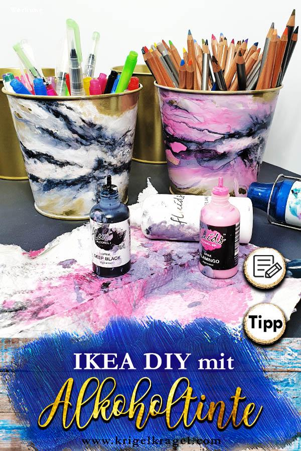 Ikea DIY mit Alkoholtinte den Marmor-Effekt auf goldene Deko malen #alkoholink #alkoholtinte #malenlernen #marmoreffekt