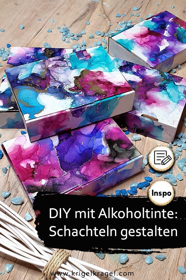 DIY Upcycling mit Alkoholtinte: Ich zeige dir wie du mit Alcoholinks alte Schachteln und Boxen aus Papier und Holz wünderhübsch zu neuer , edler Deko gestalten kannst. Aufbewahrungsboxen im edlen Look! #alkoholtinte #alcoholink #deko #upcycling