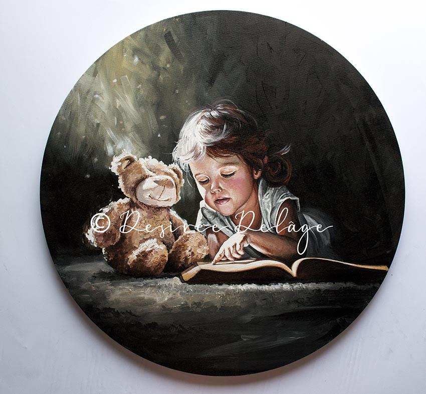 Teddy und Mädchen Portraitmalerei. Kunst kaufen von Desiree Delage
