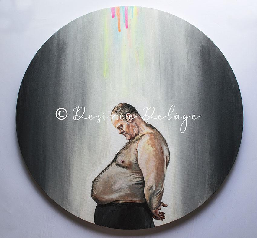 Portraitmalerei auf runder Leinwand. Kunst von Desiree Delage kaufen.