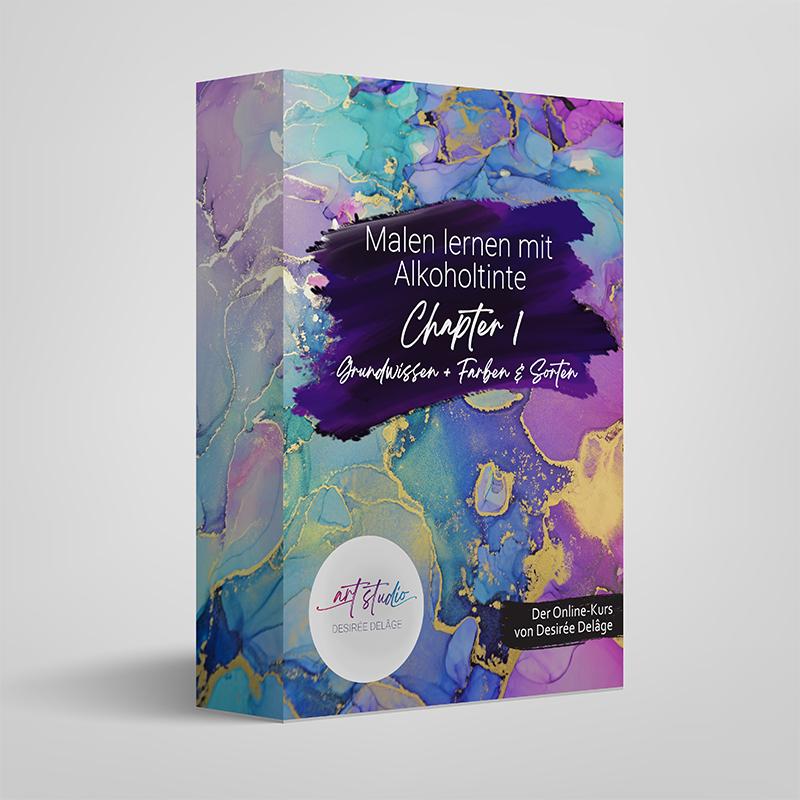 Der Malkurs zum Malen lernen mit Alkoholtinte ist in einzelnen Chaptern bei Desiree Delage erhältlich. Der Online-Kurs zum Malen lernen mit Alcohol Inks.