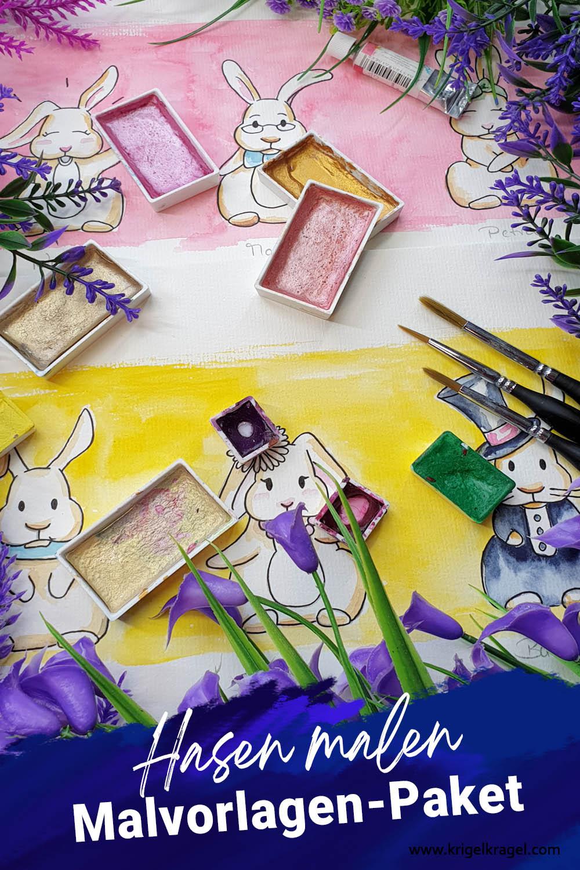 Hasen malen lernen mit Videoanleitung und Malvorlage auf dem Blog Krigelkragel von Desiree Delage. Häschen einfach selber zeichnen und malen in Aquarell, Watercolor. #malvorlage #malanleitung #malenlernen #hasenmalen