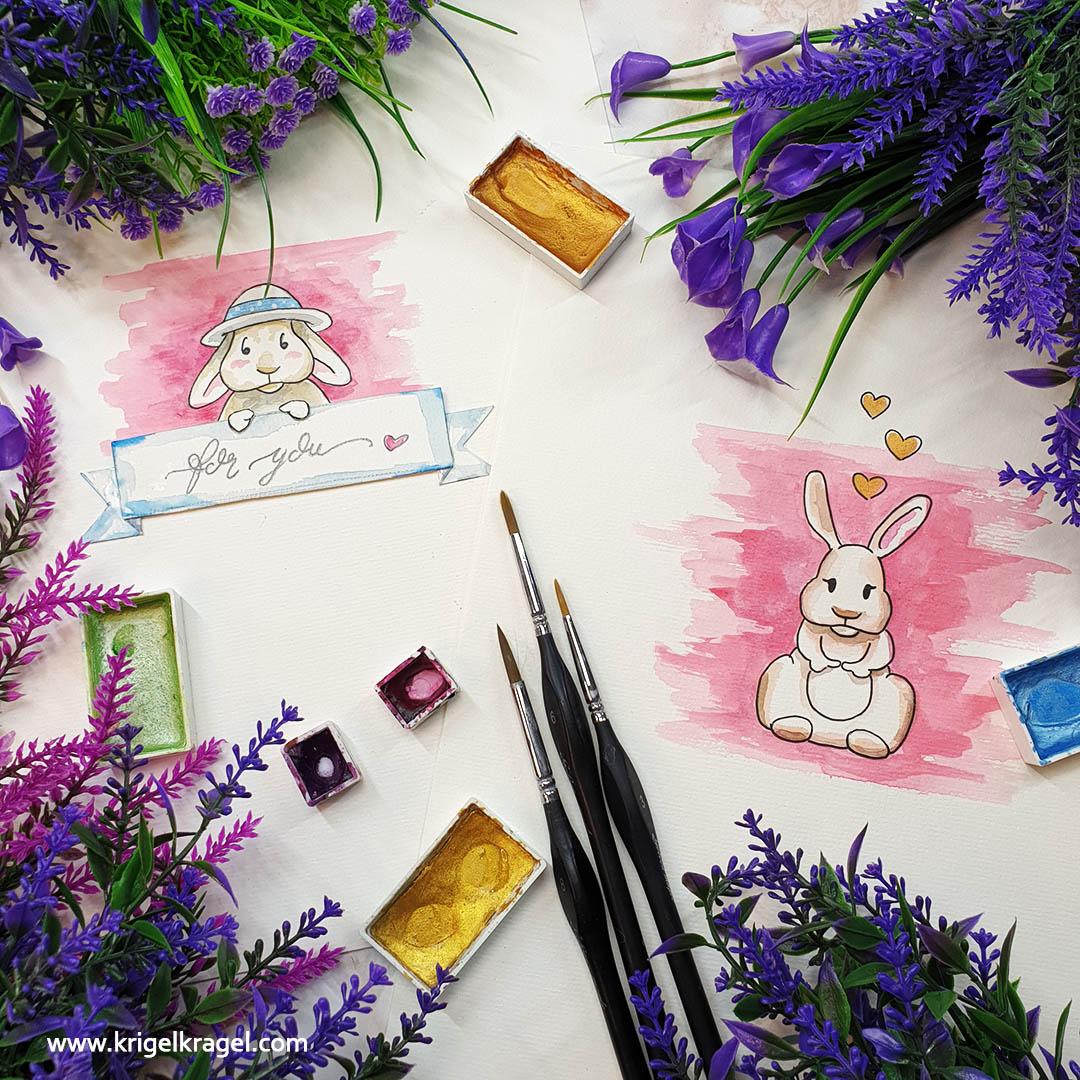 Hasen malen lernen Malanleitung Cartoon Kaninchen malen Desiree Delage Krigelkragel 2