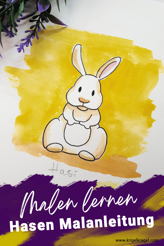 Hasen malen lernen Malanleitung Cartoon Kaninchen malen Desiree Delage Krigelkragel 3