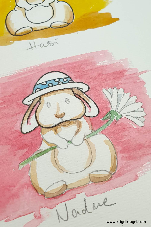 Hasen malen lernen Malanleitung Cartoon Kaninchen malen Desiree Delage Krigelkragel 4