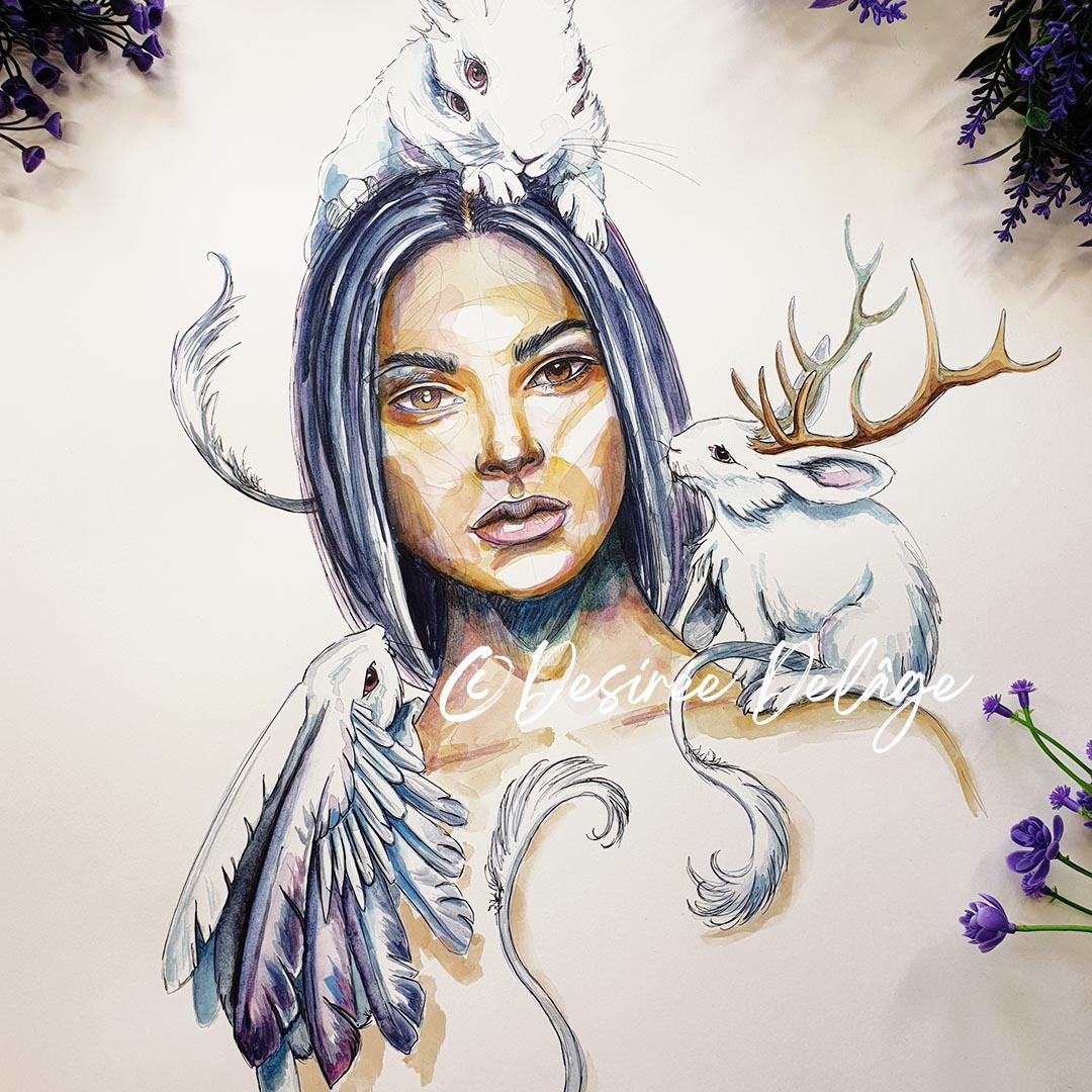 Artemis Watercolor Portrait 2