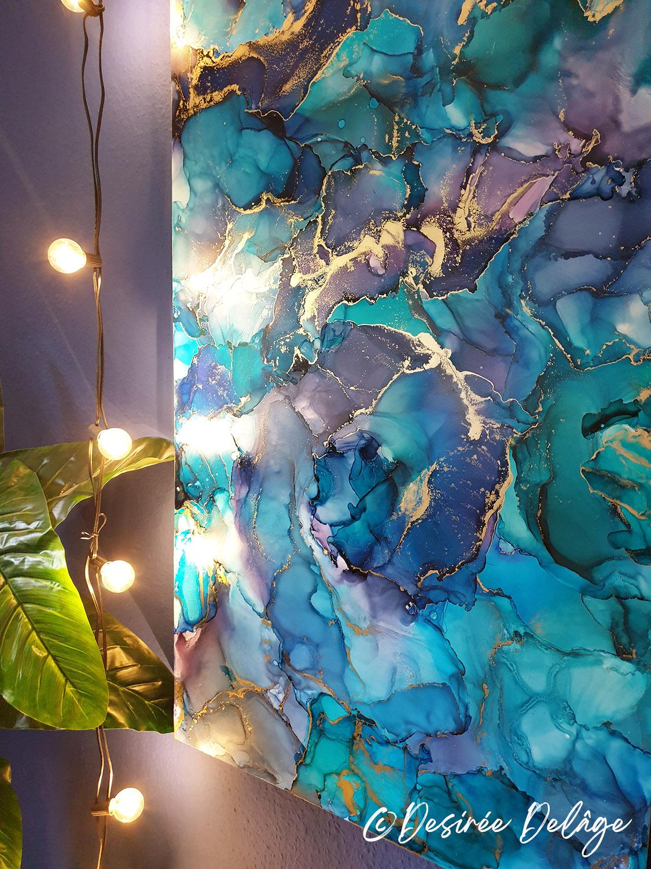 Malerei Gemälde Kunst für Praxis Restaurant Kanzlei Innausstattung und Privat Alkohotintenmalerei von Desiree Delage Krigelklragel 12