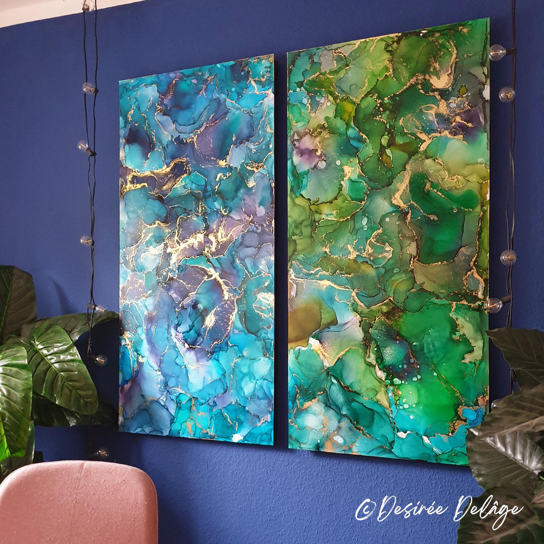 Malerei Gemälde Kunst für Praxis Restaurant Kanzlei Innausstattung und Privat Alkohotintenmalerei von Desiree Delage Krigelklragel 13