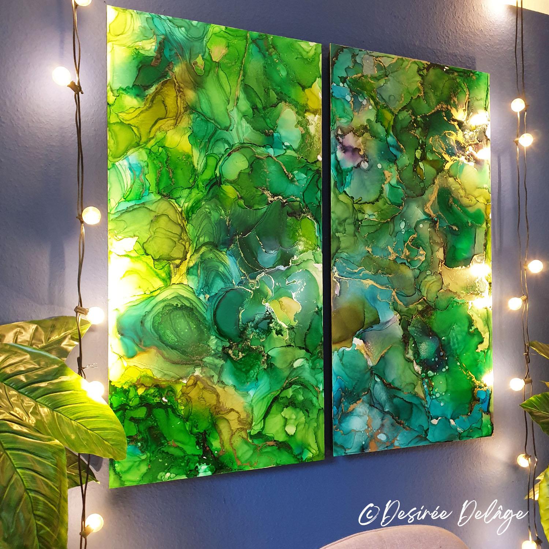 Malerei Gemälde Kunst für Praxis Restaurant Kanzlei Innausstattung und Privat Alkohotintenmalerei von Desiree Delage Krigelklragel 6