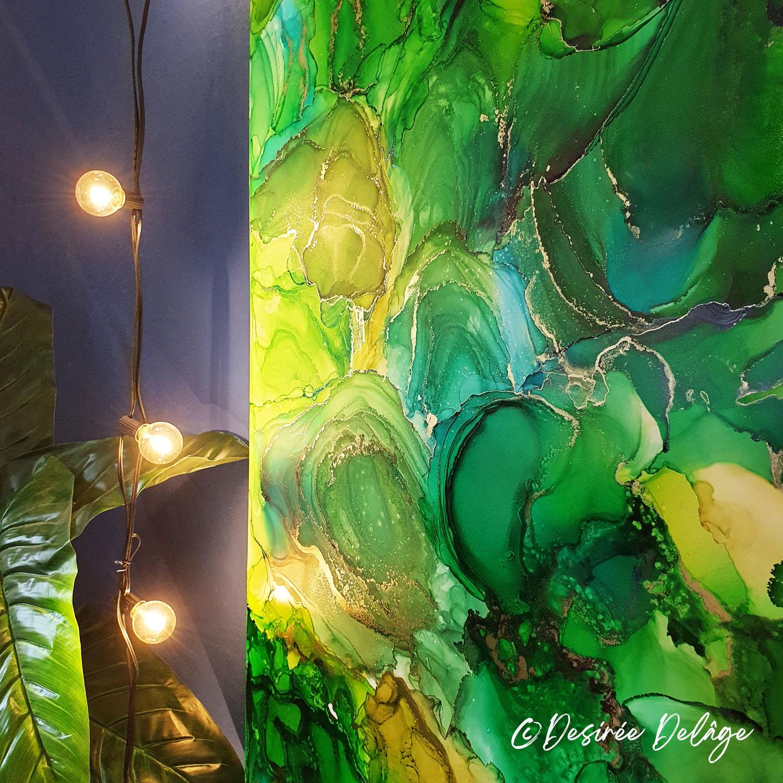 Malerei Gemälde Kunst für Praxis Restaurant Kanzlei Innausstattung und Privat Alkohotintenmalerei von Desiree Delage Krigelklragel 8