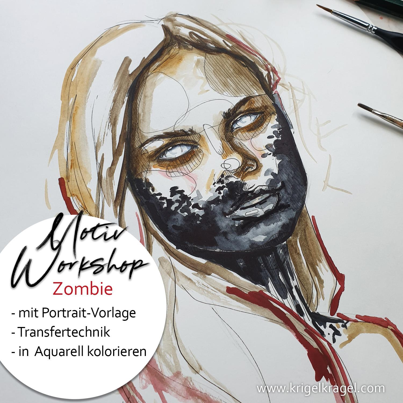 Motiv Workshop Portrait Zombie zeichnen und kolorieren Desiree Delage